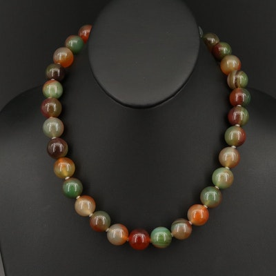 Beaded Agate Necklace with Sterling Bow Clasp