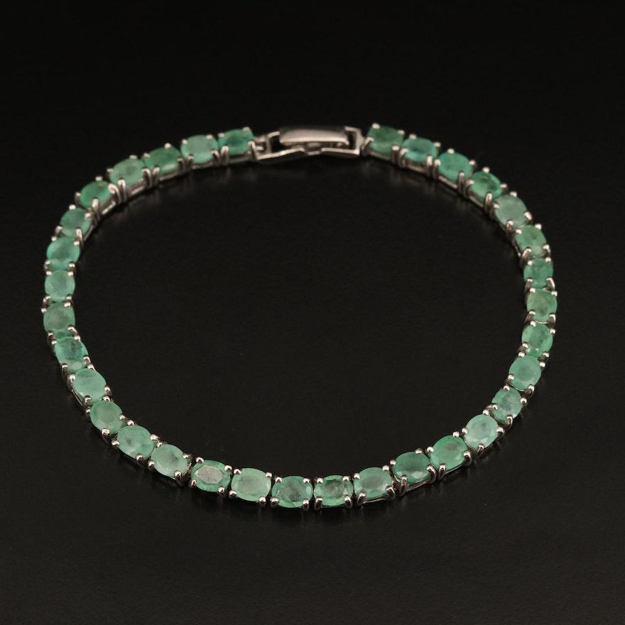 Sterling Emerald Line Bracelet