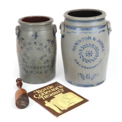 Hamilton & Jones and A. Conrad Salt-Glazed Stoneware Crocks with Wooden Churn