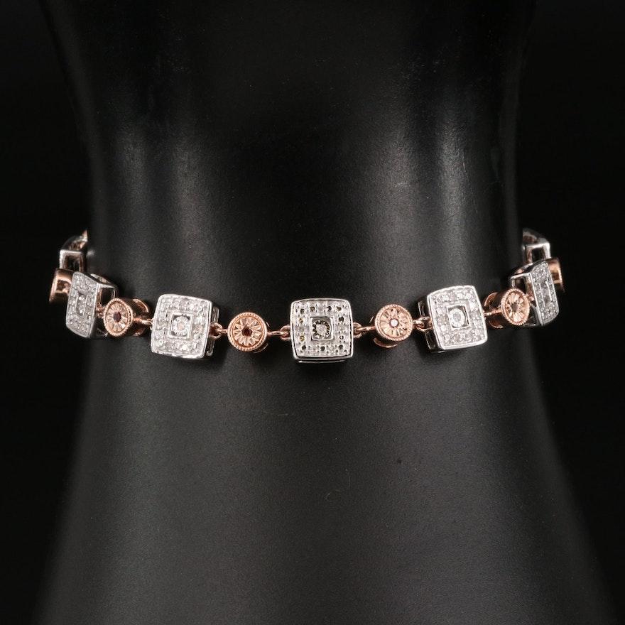 800 Silver Diamond Link Bracelet