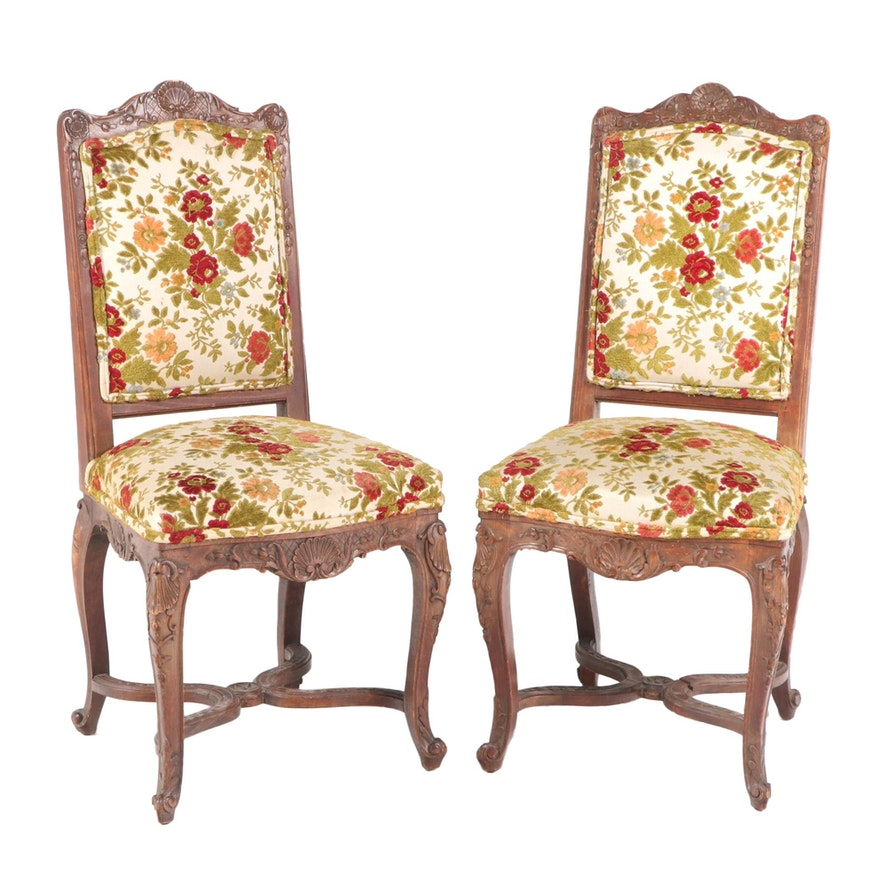 Pair of Louis XV Style Carved Beech Side Chairs, Late 19th/Early 20th Century