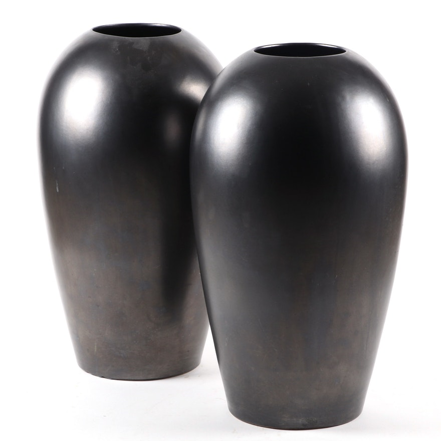Pair of Haegar Gunmetal Glaze Earthenware Vases