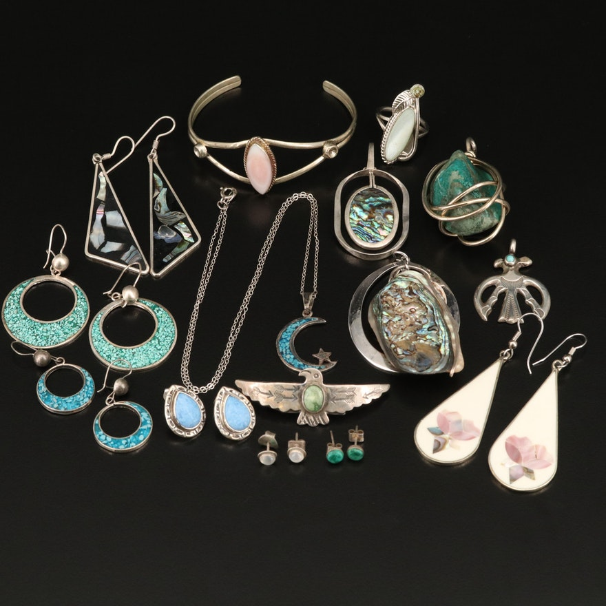 Jewelry Grouping Including Sterling, Abalone and Mother of Pearl