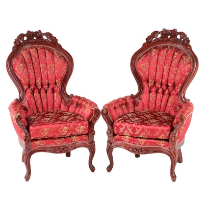 Two Kimball Furniture Rococo Revival Style Mahogany and Buttoned-Down Armchairs