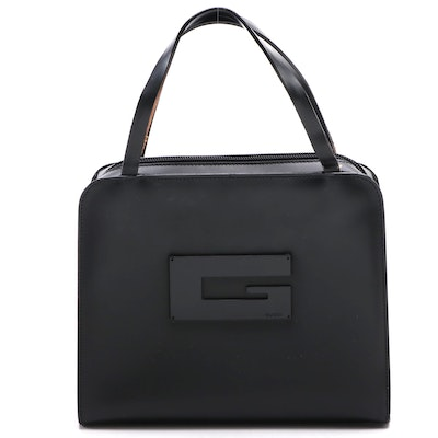 Gucci G Logo Top Handle Bag in Black Glazed Leather