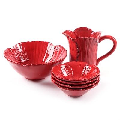 "Ambiance ""Fleur Rouge Figural"" Ceramic Salad Bowl Set and Pitcher, 2007 - 2009"