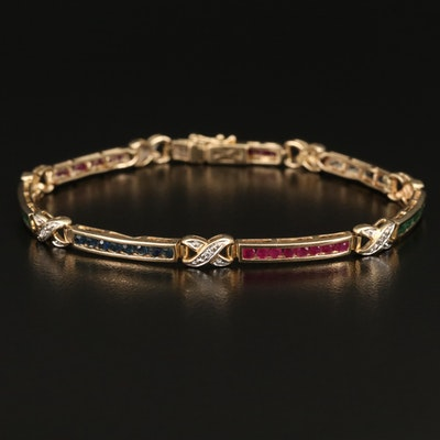 14K Sapphire, Ruby, Emerald and Diamond Bar Link Bracelet