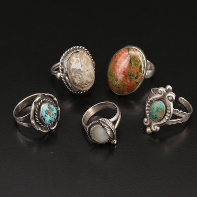 Sterling Turquoise and Gemstone Rings Including Faience Scarab Beetle