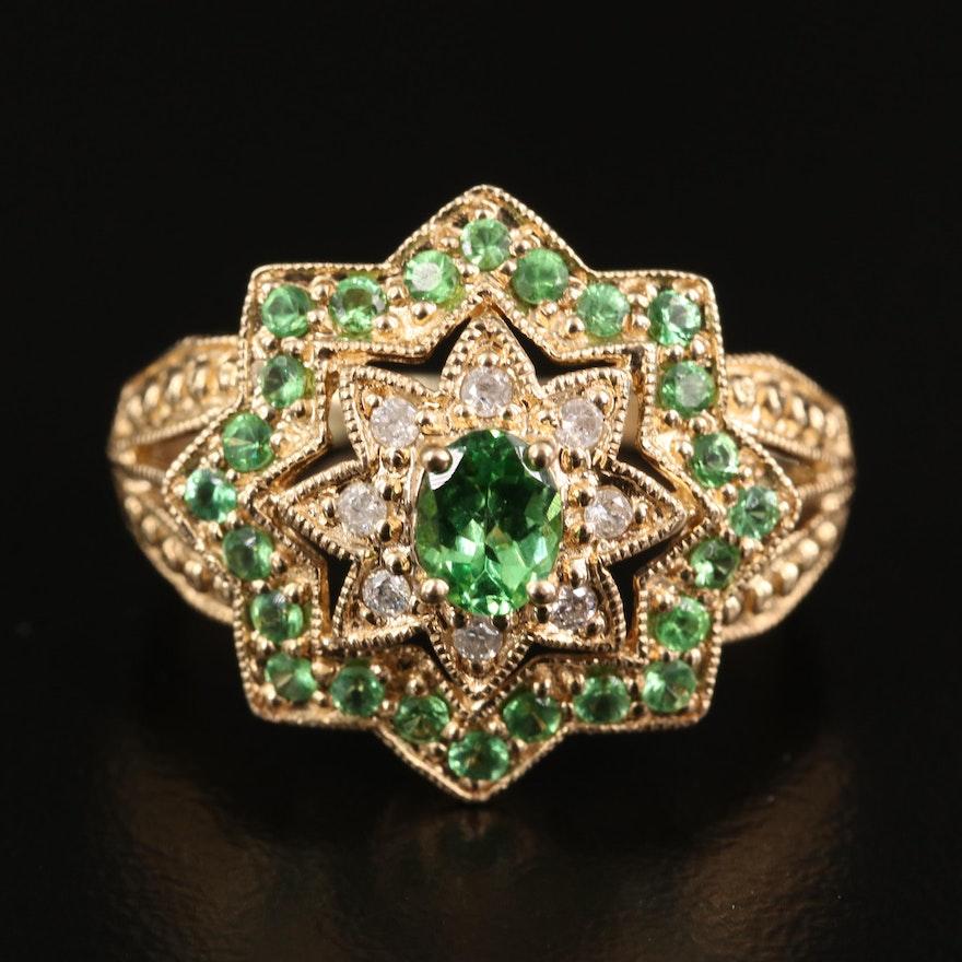 10K Tsavorite Garnet and Diamond Cluster Ring