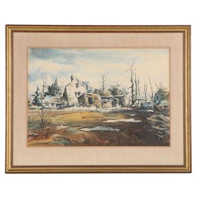 """Clem Albert Gouveia Landscape Watercolor Painting """"Autumn Gold"""""""
