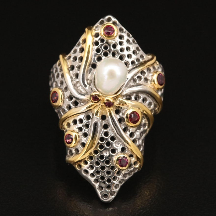 Sterling Silver Pearl and Garnet Octopus Pointer Ring