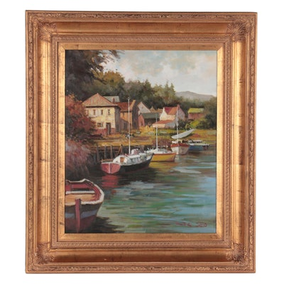 J.C. Seo Harbor Scene Oil Painting