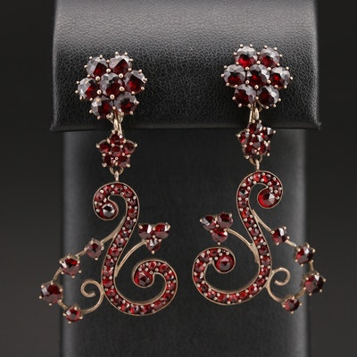 Vintage Bohemian Garnet Earrings