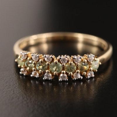 10K Tsavorite Garnet and Sapphire Ring
