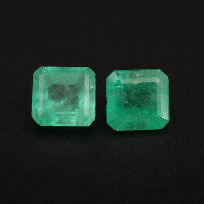 Matched Pair of Loose 3.17 CTW Square Faceted Emeralds
