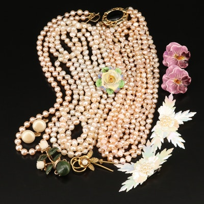 Vintage Grouping Including Swoboda Coral Flower Pot Brooch and Baroque Pearls