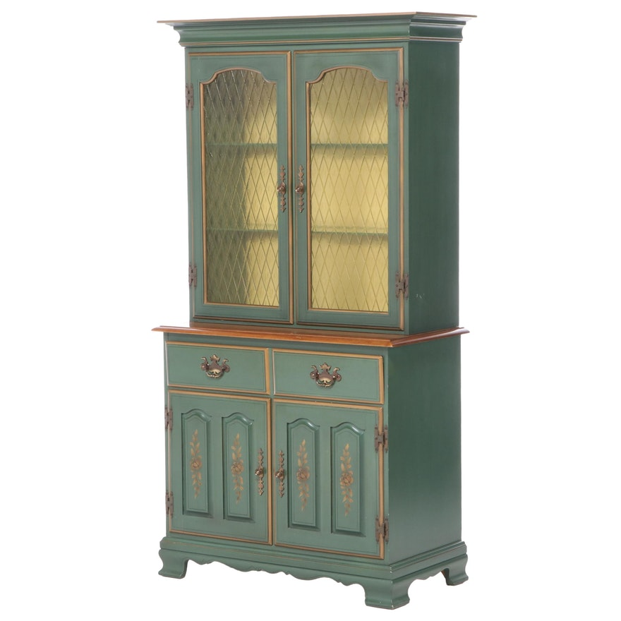 Chippendale Style Parcel-Painted and Gilt-Stenciled Secretary Bookcase