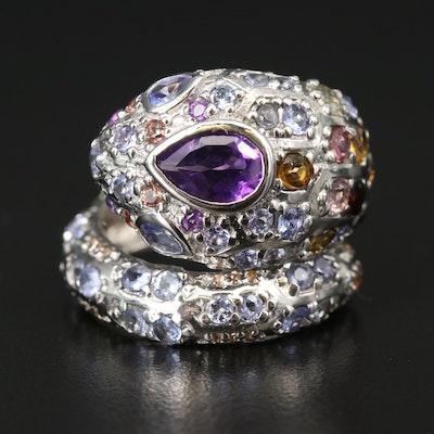 Sterling Silver Gemstone Coiled Snake Ring