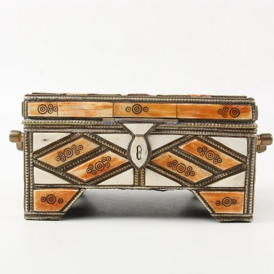 Moroccan Camel Bone Inlaid Jewelry Casket with Correspondence from Maya Angelou
