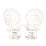 Pair of White-Painted Rattan and Bamboo Peacock Armchairs, Mid/Late 20th Century