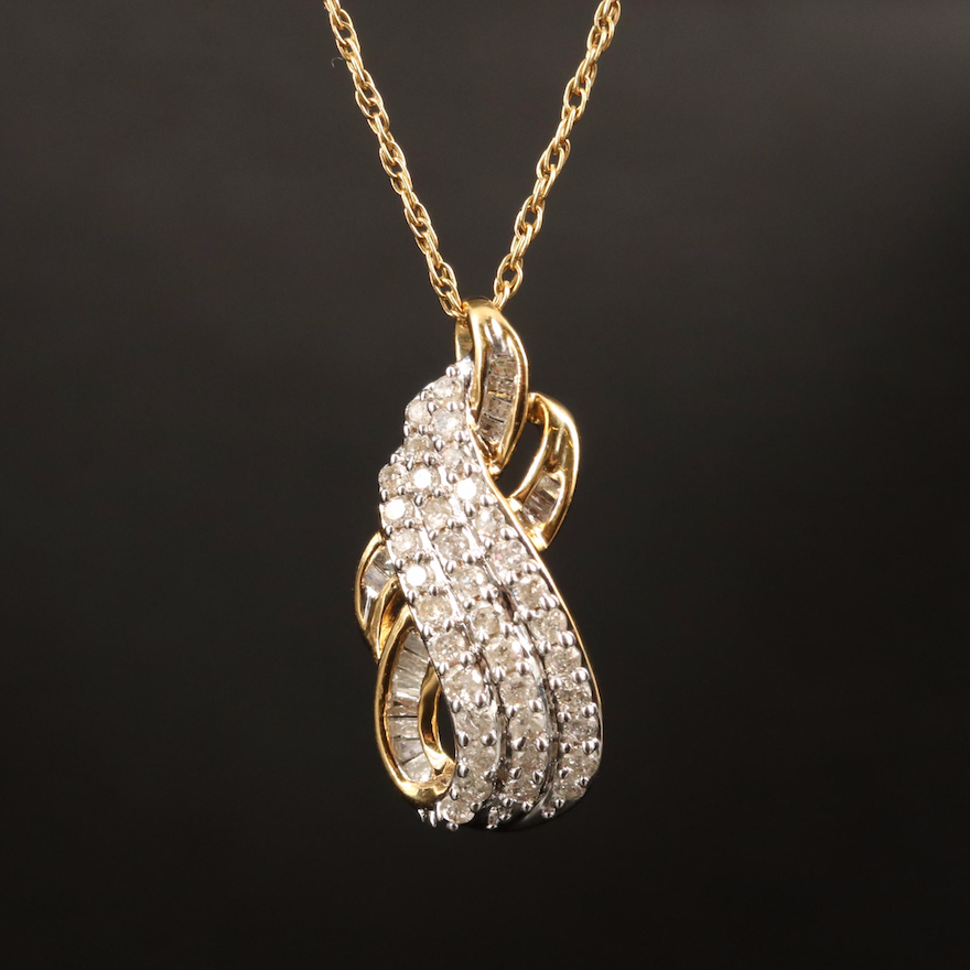 Sterling Diamond Pendant with Gold Filled Singapore Chain Necklace