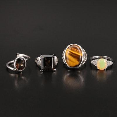 Sterling Tiger's Eye and Gemstone Rings