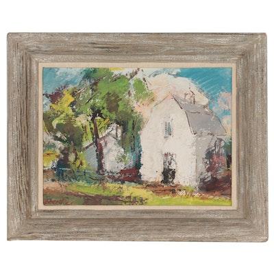 Eric Gibberd Barn Landscape Oil Painting, 1954