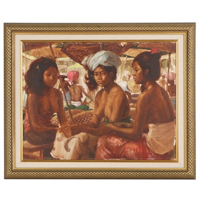 Indonesian Market Scene Oil Painting, 1977