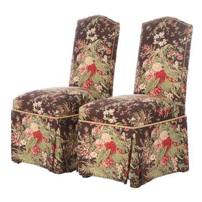 Pair of Statesman Furniture Floral-Upholstered and Brass-Tacked Side Chairs