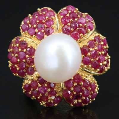 Sterling Silver Pearl and Ruby Flower Ring