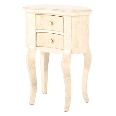 Louis XV Style Tessellated Stone Two-Drawer Petite Commode à Rognon