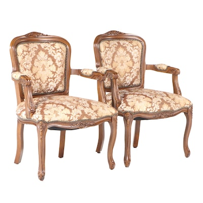 Pair of Louis XV Style Fruitwood-Stained and Upholstered Fauteuils