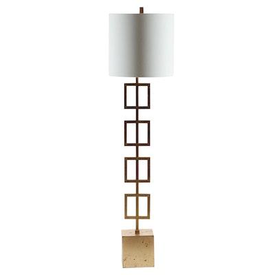 Contemporary Gold Leaf Metal Floor Lamp