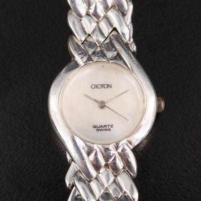 Croton for Alfred Hammel Sterling Silver Wristwatch with Mother of Pearl Dial