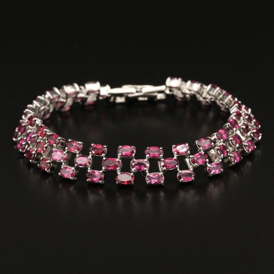 Sterling Silver Rhodolite Garnet Bracelet