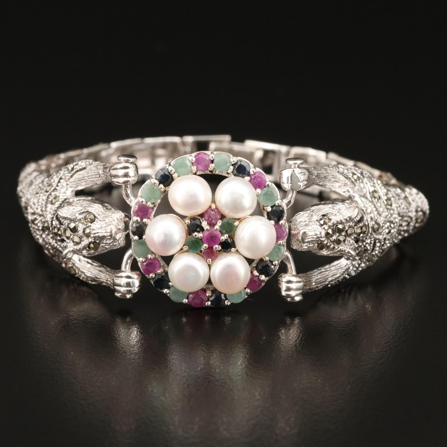 Sterling Cat Bracelet Including Pearl, Ruby and Sapphire