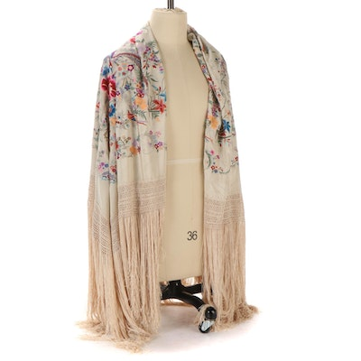 Embroidered Floral and Bird Motif Piano Shawl