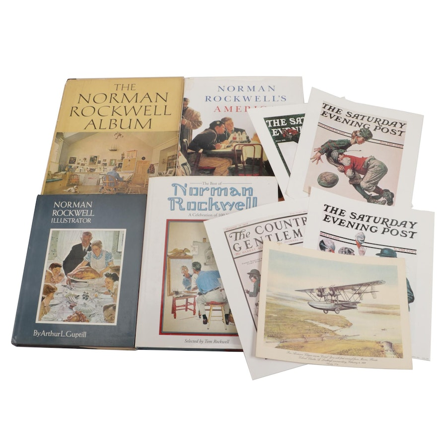 """First Edition """"The Normal Rockwell Album"""" and More Norman Rockwell Art Books"""
