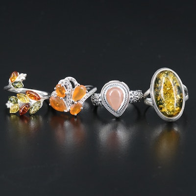 Sterling Silver Rings Featuring Amber, Opal and Topaz