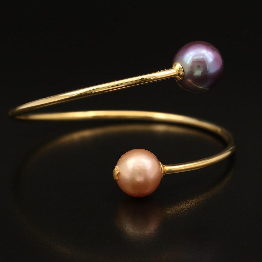 Sterling Pearl Bypass Bracelet
