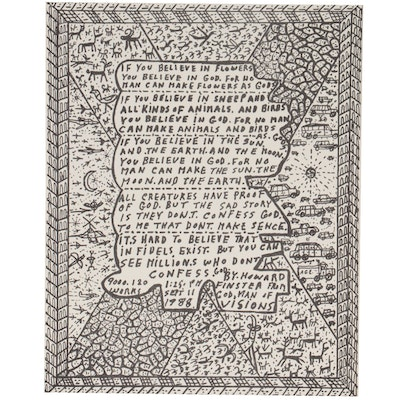 Howard Finster Folk Art Religious Lithograph, Late 20th Century