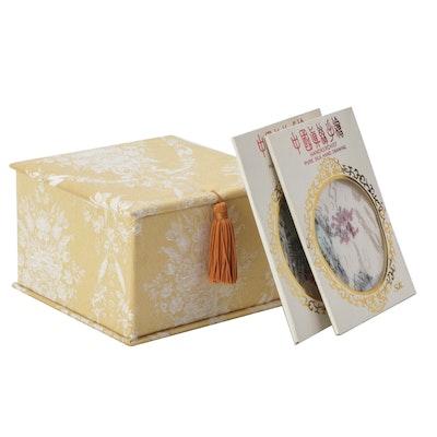 Chinese Hand Decorated Silk Handkerchiefs and Silk Hinged Box