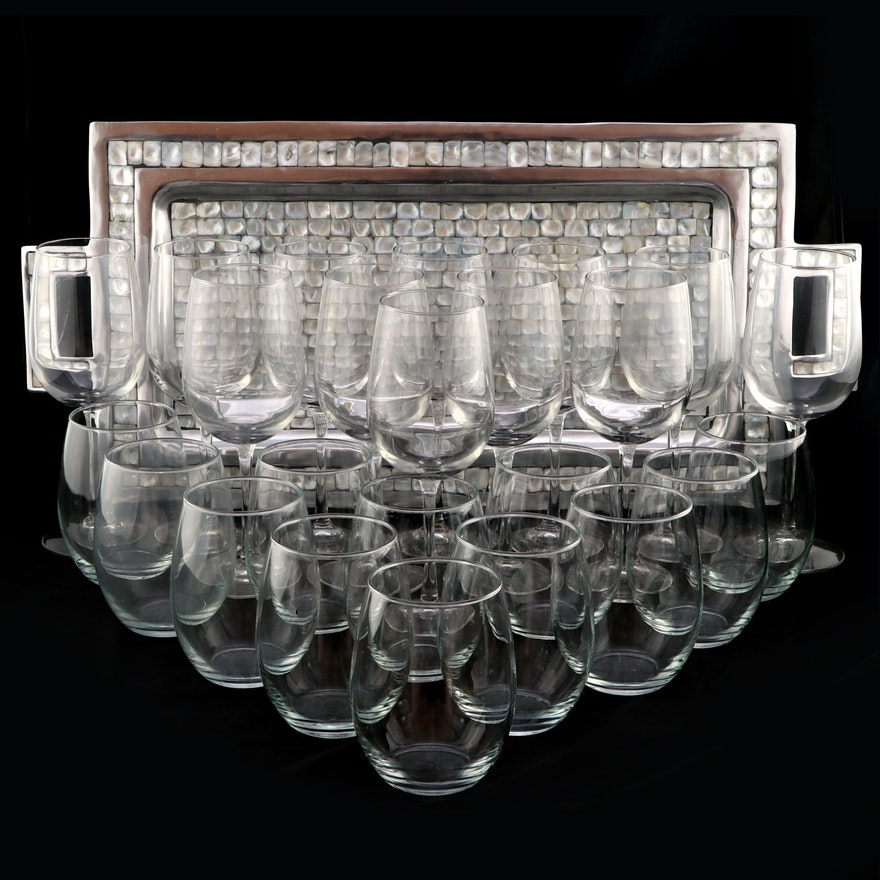 Julia Knight Rectangular Handled Enameled Aluminum Tray and Other Wine Glasses