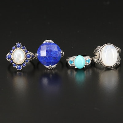 Sterling Silver Rings Featuring Rainbow Moonstone, Apatite and Lapis Lazuli