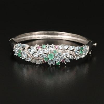 Sterling Silver Emerald, Aquamarine and Rhodolite Garnet Hinged Bangle