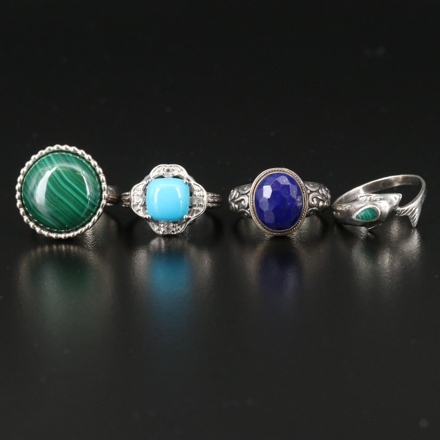 Sterling Silver Gemstone Rings Featuring Robert Manse Ring with 18K Accent