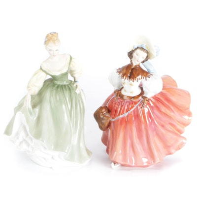 """Royal Doulton """"The Skater"""" and """"Fair Lady"""" Bone China Figurines"""