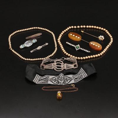 Vintage Jewelry Including Abalone, Rhinestone and Gemstone