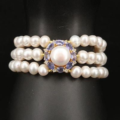 Sterling Pearl, Tanzanite and Gemstone Triple Strand Bracelet