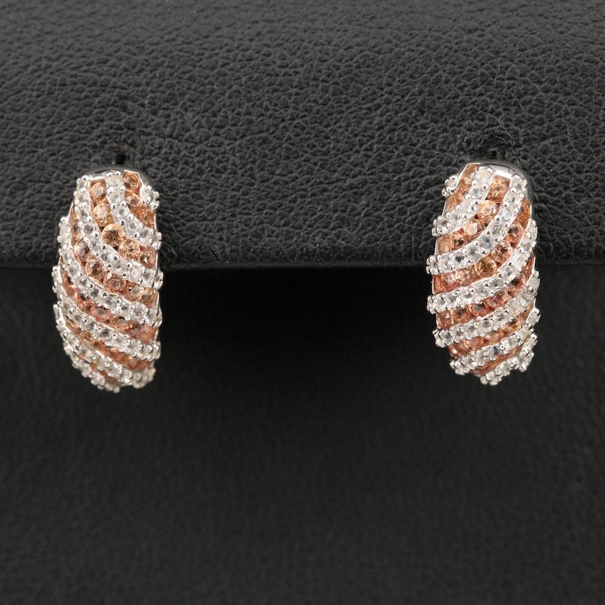 Sterling Sapphire Striped Half Hoop Earrings
